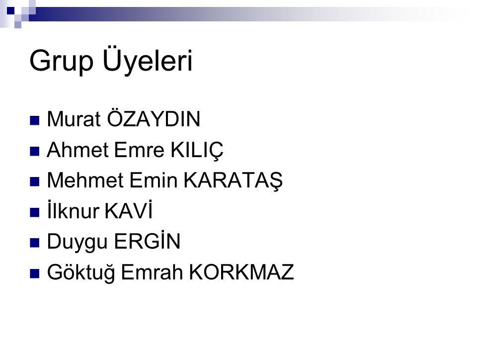 Grup Üyeleri Murat ÖZAYDIN Ahmet Emre KILIÇ Mehmet Emin KARATAŞ