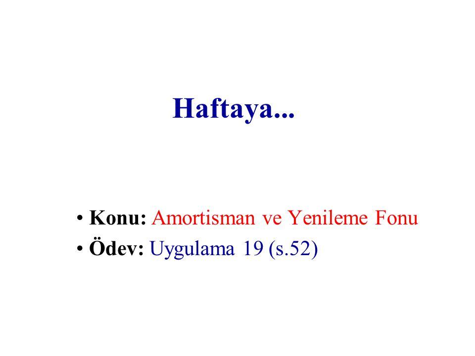 Konu: Amortisman ve Yenileme Fonu Ödev: Uygulama 19 (s.52)