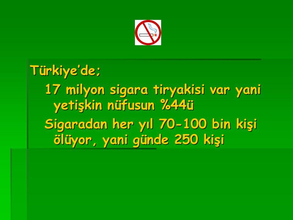 Türkiye'de; 17 milyon sigara tiryakisi var yani yetişkin nüfusun %44ü.