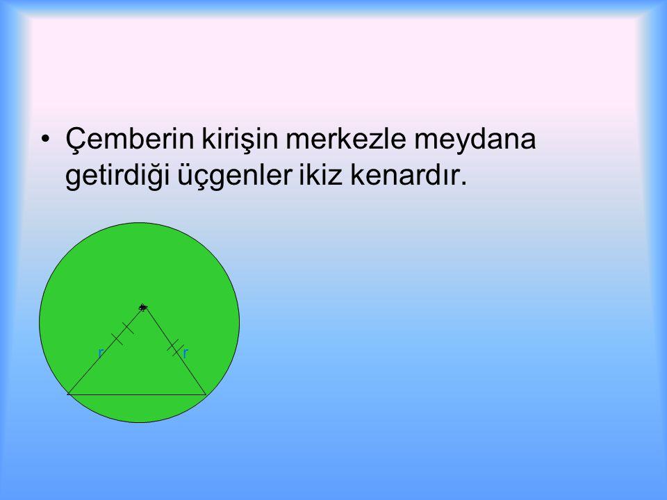 Çemberin kirişin merkezle meydana getirdiği üçgenler ikiz kenardır.