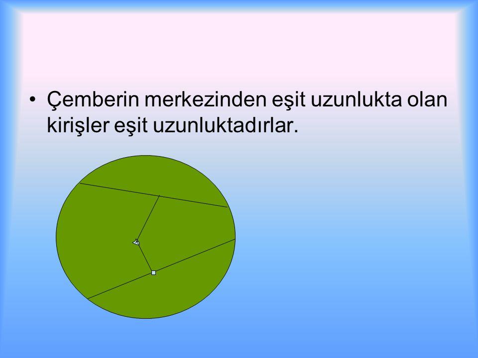 Çemberin merkezinden eşit uzunlukta olan kirişler eşit uzunluktadırlar.
