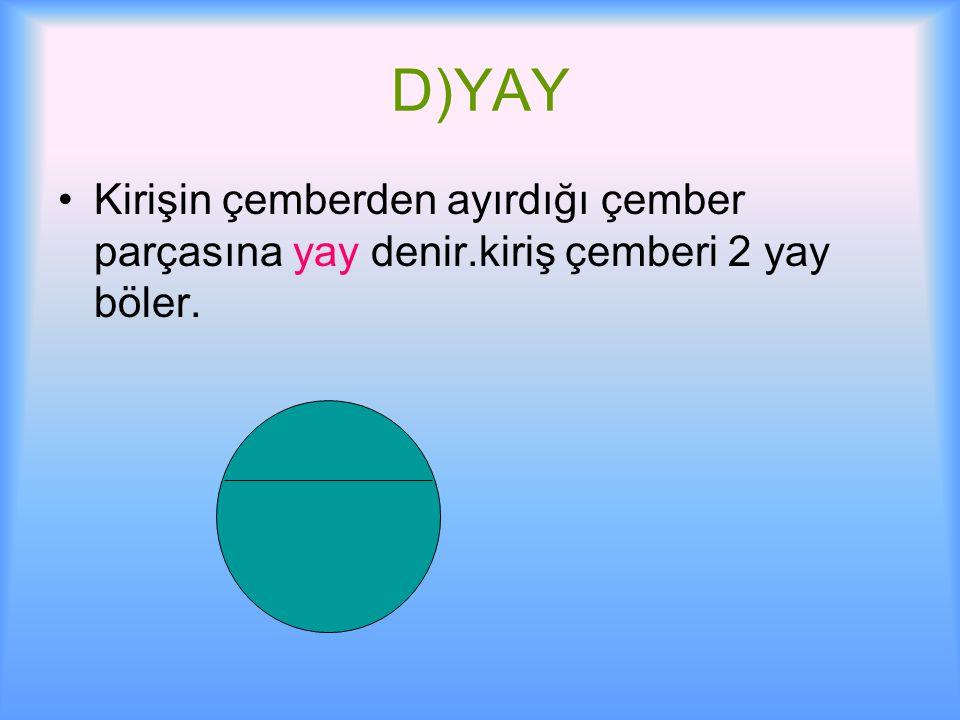D)YAY Kirişin çemberden ayırdığı çember parçasına yay denir.kiriş çemberi 2 yay böler.