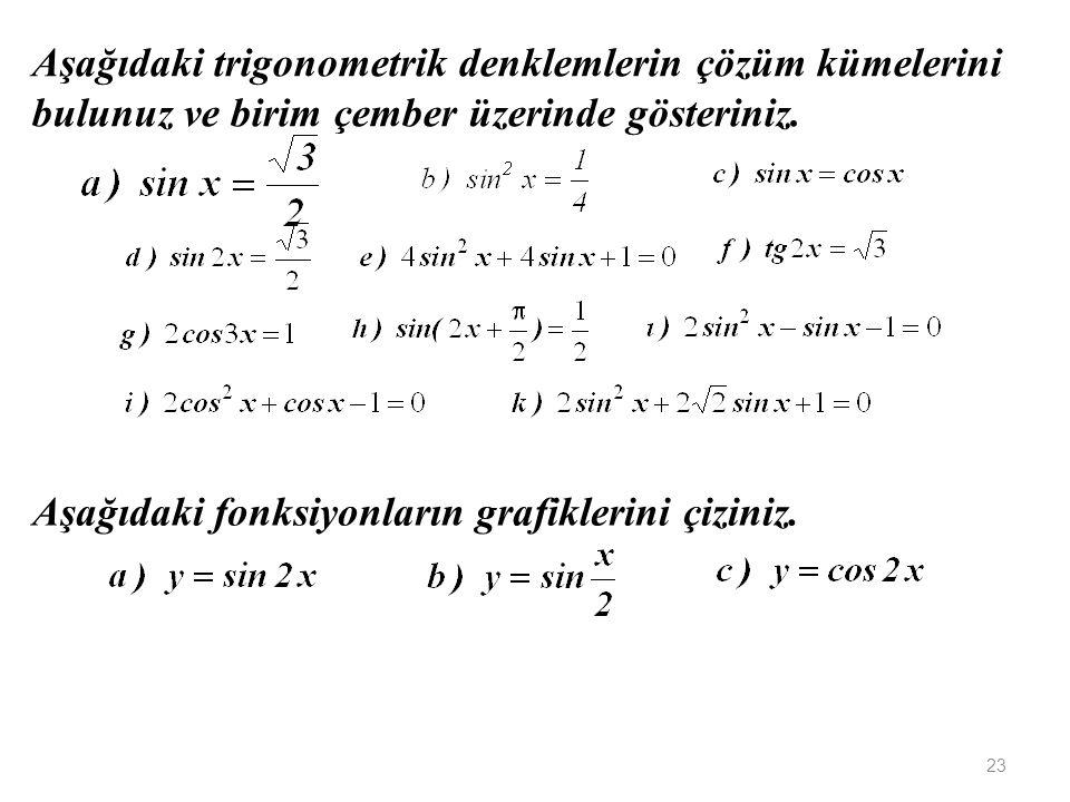 Aşağıdaki trigonometrik denklemlerin çözüm kümelerini bulunuz ve birim çember üzerinde gösteriniz.