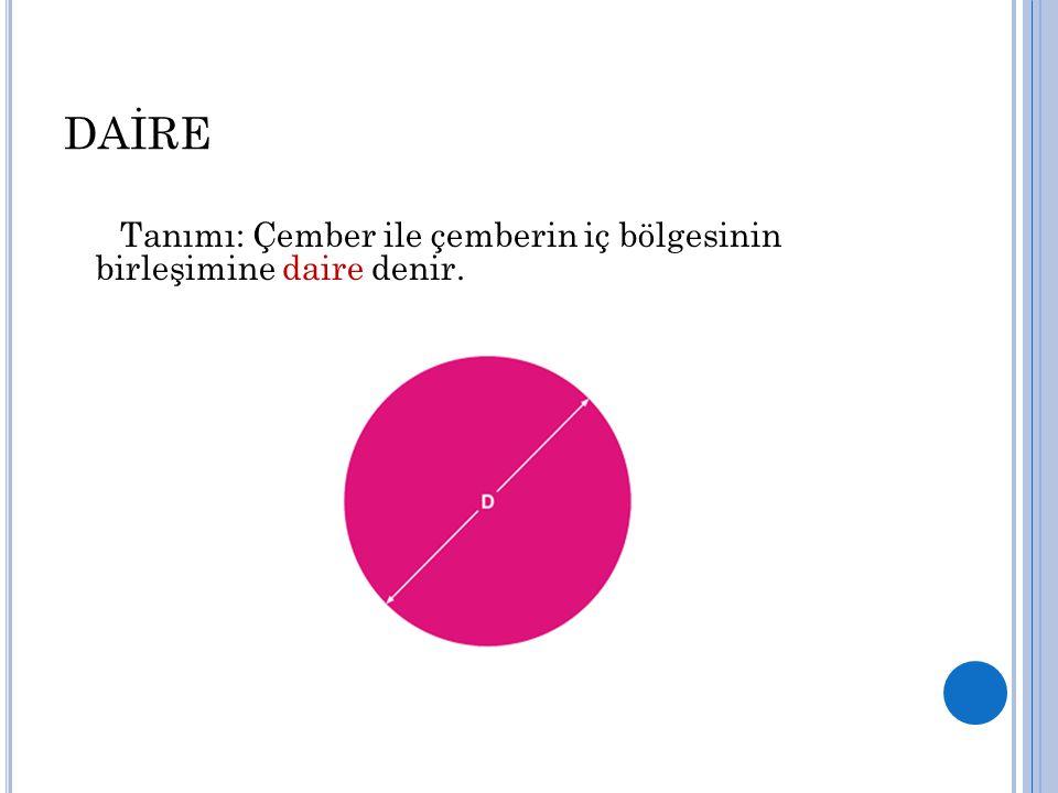 DAİRE Tanımı: Çember ile çemberin iç bölgesinin birleşimine daire denir.