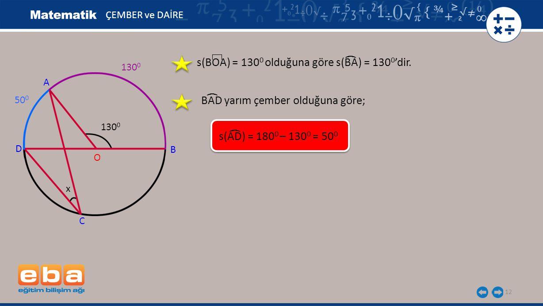 s(BOA) = 1300 olduğuna göre s(BA) = 1300'dir.