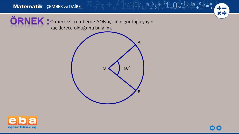ÖRNEK : O merkezli çemberde AOB açısının gördüğü yayın