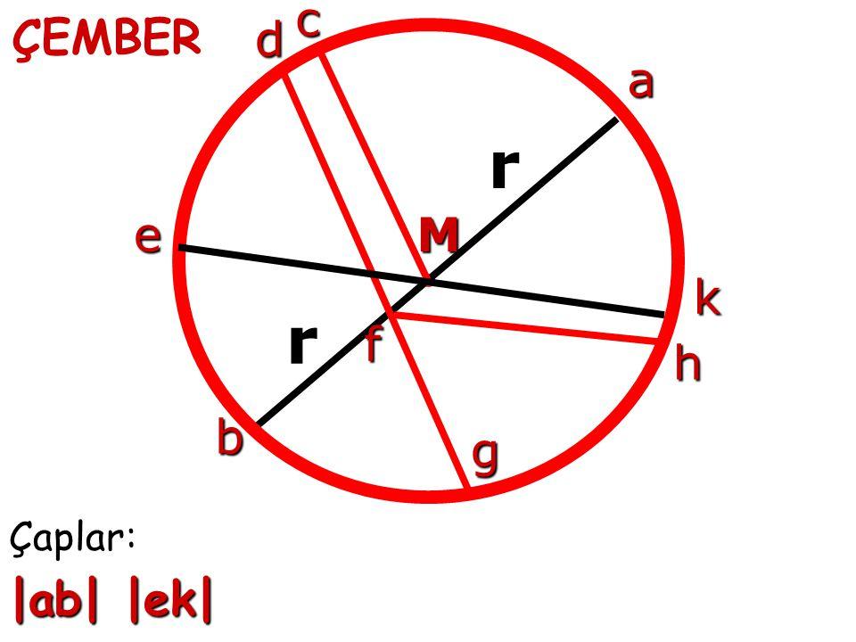 c ÇEMBER d a r çember e M k r f h çember b g Çaplar: |ab| |ek|
