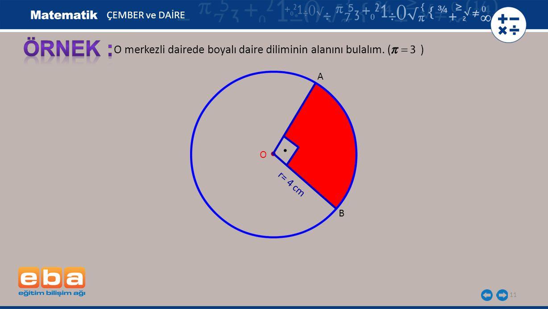 ÖRNEK : O merkezli dairede boyalı daire diliminin alanını bulalım. ( )