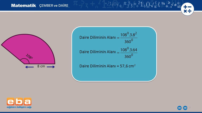 Daire Diliminin Alanı = 57,6 cm2