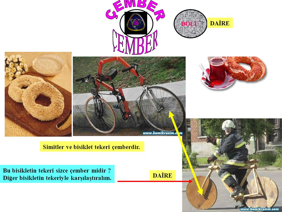 ÇEMBER ÇEMBER BOŞ DOLU DAİRE Simitler ve bisiklet tekeri çemberdir.