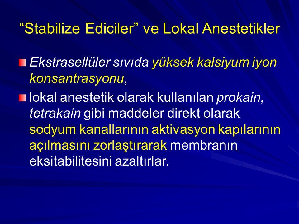 Stabilize Ediciler ve Lokal Anestetikler