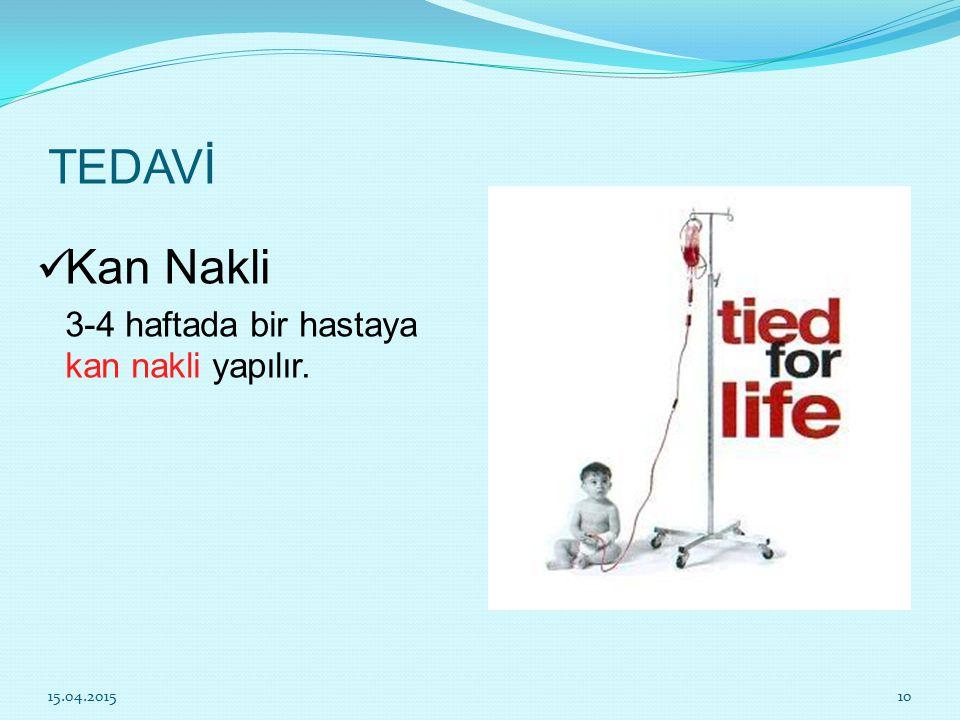 TEDAVİ Kan Nakli 3-4 haftada bir hastaya kan nakli yapılır. 12.04.2017