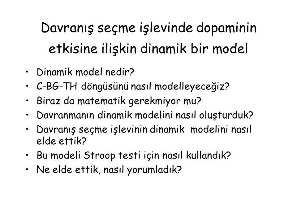 Davranış seçme işlevinde dopaminin etkisine ilişkin dinamik bir model