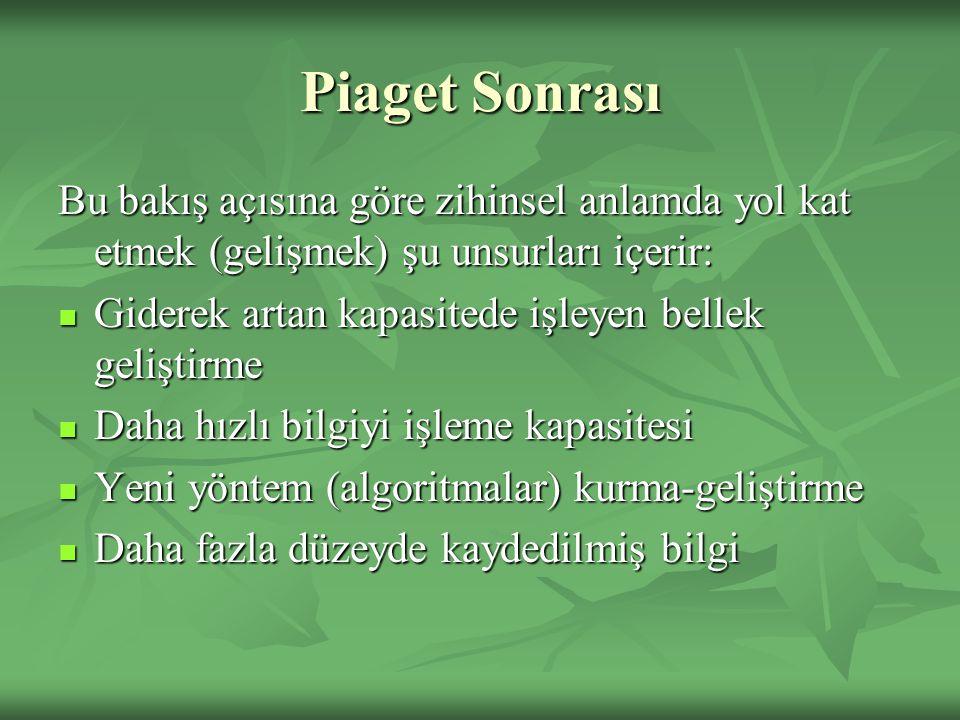Piaget Sonrası Bu bakış açısına göre zihinsel anlamda yol kat etmek (gelişmek) şu unsurları içerir: