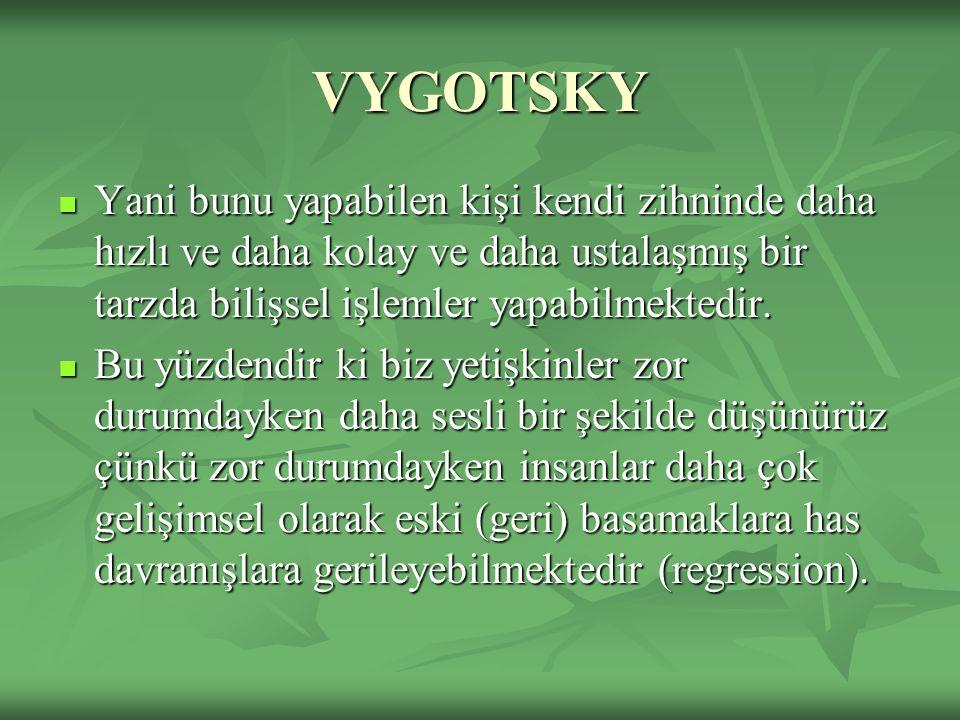 VYGOTSKY Yani bunu yapabilen kişi kendi zihninde daha hızlı ve daha kolay ve daha ustalaşmış bir tarzda bilişsel işlemler yapabilmektedir.