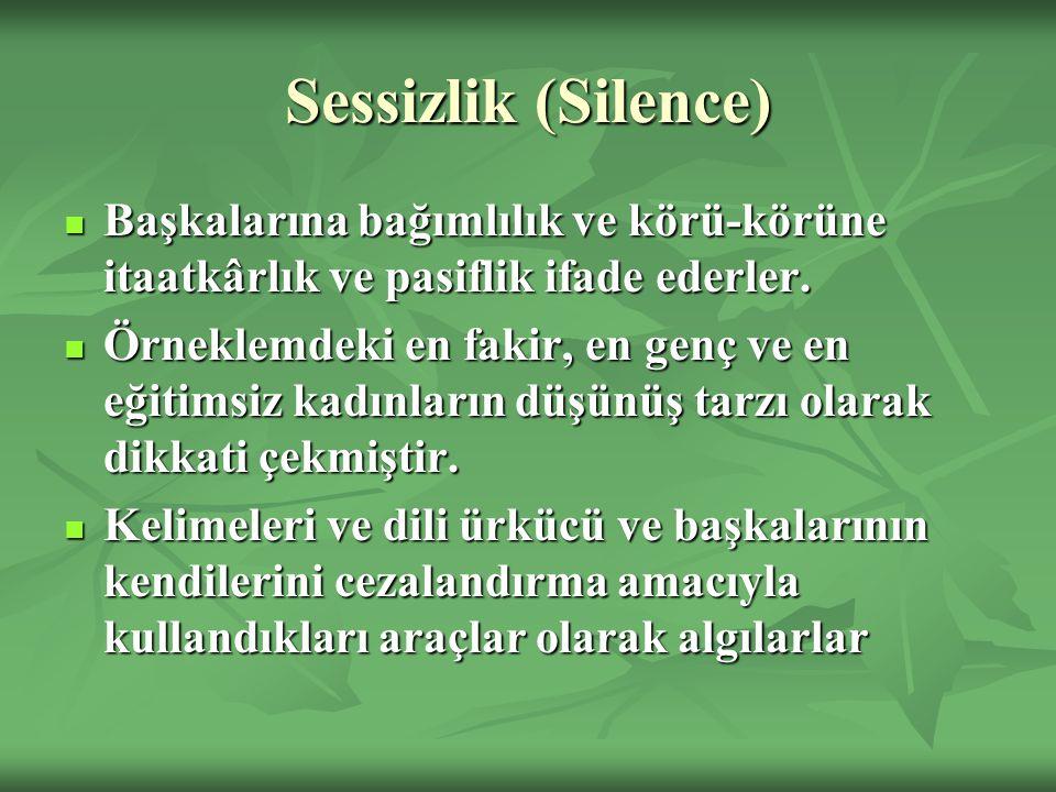 Sessizlik (Silence) Başkalarına bağımlılık ve körü-körüne itaatkârlık ve pasiflik ifade ederler.