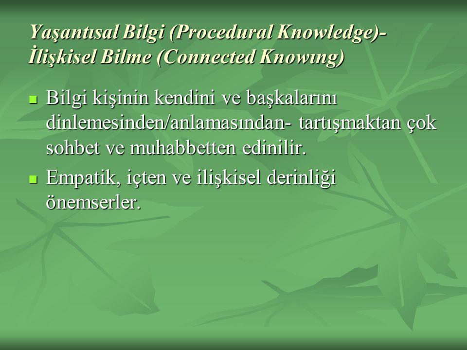 Yaşantısal Bilgi (Procedural Knowledge)- İlişkisel Bilme (Connected Knowıng)