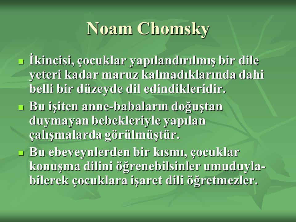 Noam Chomsky İkincisi, çocuklar yapılandırılmış bir dile yeteri kadar maruz kalmadıklarında dahi belli bir düzeyde dil edindikleridir.