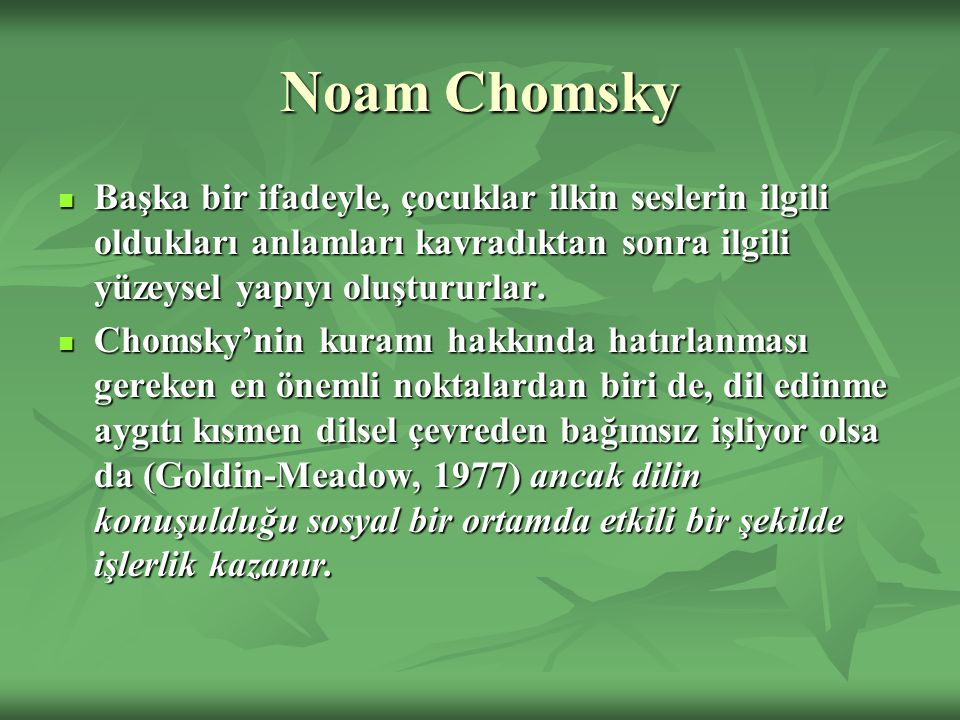 Noam Chomsky Başka bir ifadeyle, çocuklar ilkin seslerin ilgili oldukları anlamları kavradıktan sonra ilgili yüzeysel yapıyı oluştururlar.