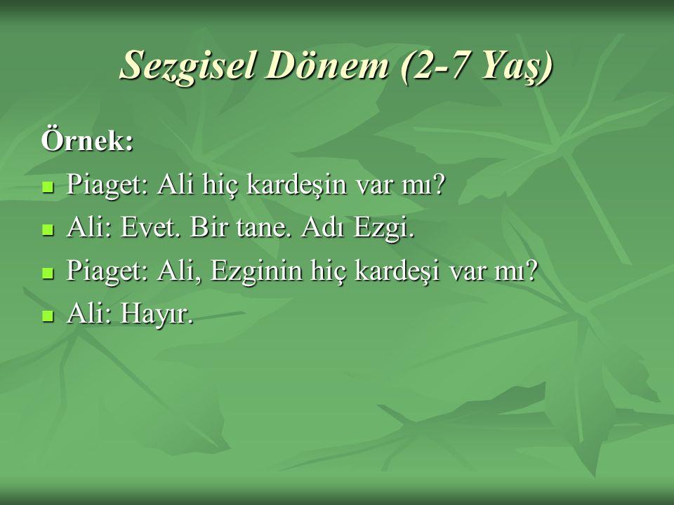 Sezgisel Dönem (2-7 Yaş) Örnek: Piaget: Ali hiç kardeşin var mı