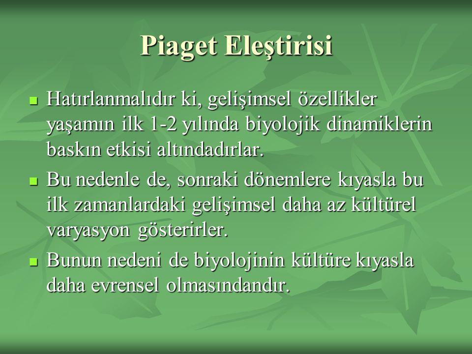 Piaget Eleştirisi Hatırlanmalıdır ki, gelişimsel özellikler yaşamın ilk 1-2 yılında biyolojik dinamiklerin baskın etkisi altındadırlar.