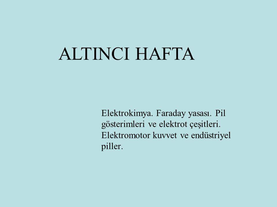 ALTINCI HAFTA Elektrokimya. Faraday yasası. Pil gösterimleri ve elektrot çeşitleri. Elektromotor kuvvet ve endüstriyel piller.