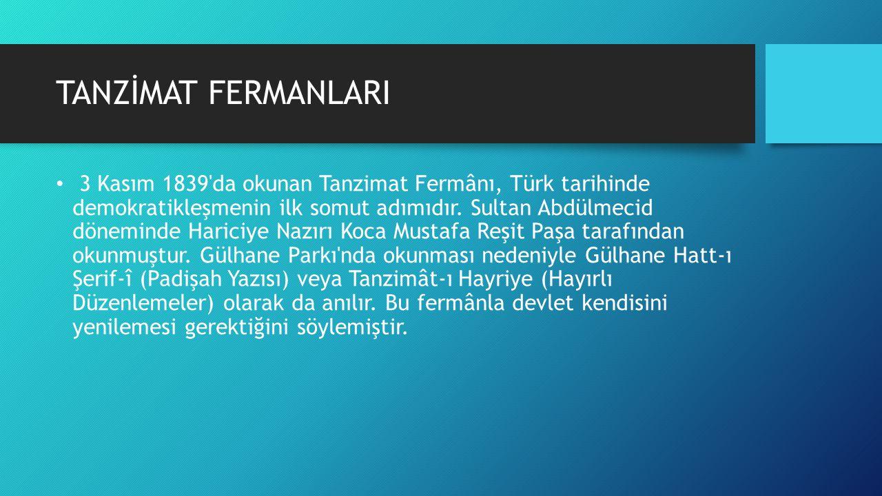 TANZİMAT FERMANLARI
