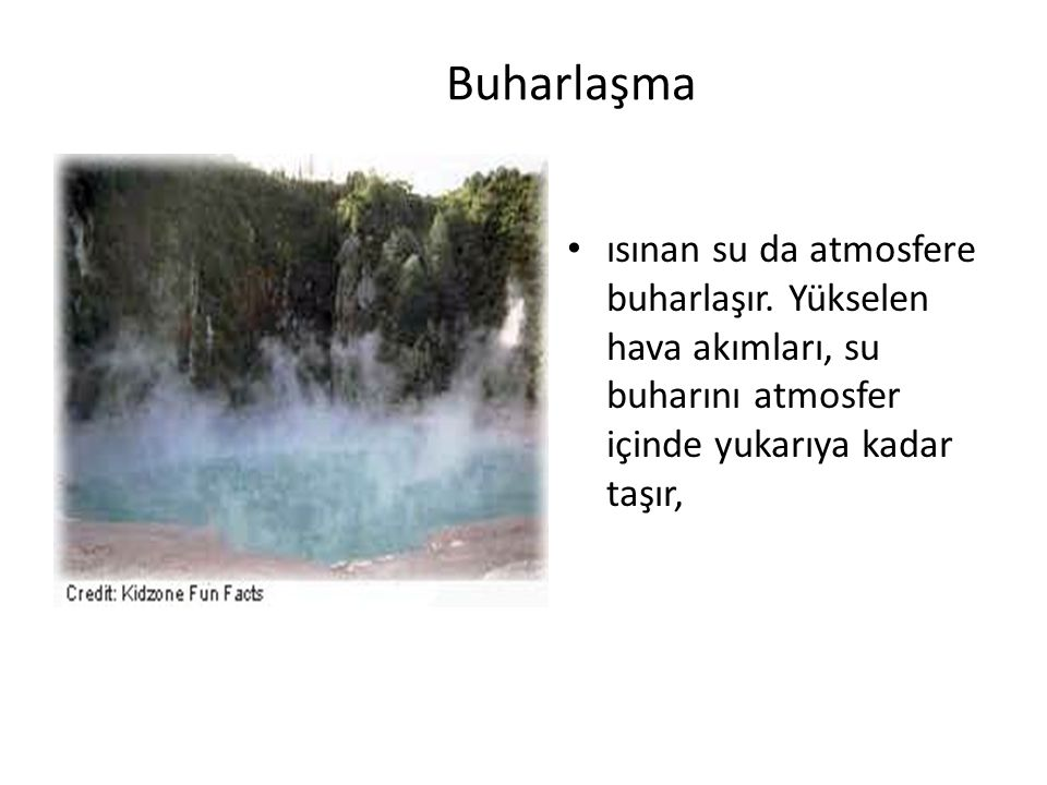Buharlaşma ısınan su da atmosfere buharlaşır.
