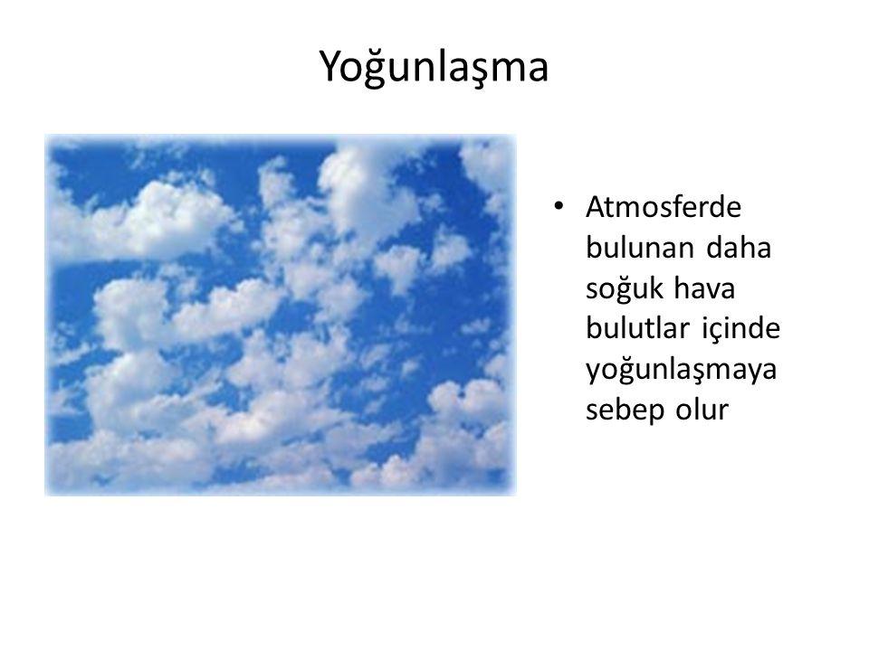 Yoğunlaşma Atmosferde bulunan daha soğuk hava bulutlar içinde yoğunlaşmaya sebep olur