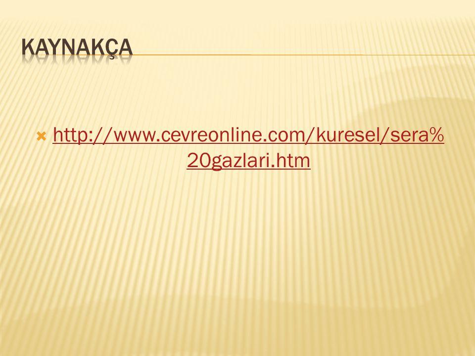 KAYNAKÇA http://www.cevreonline.com/kuresel/sera%20gazlari.htm