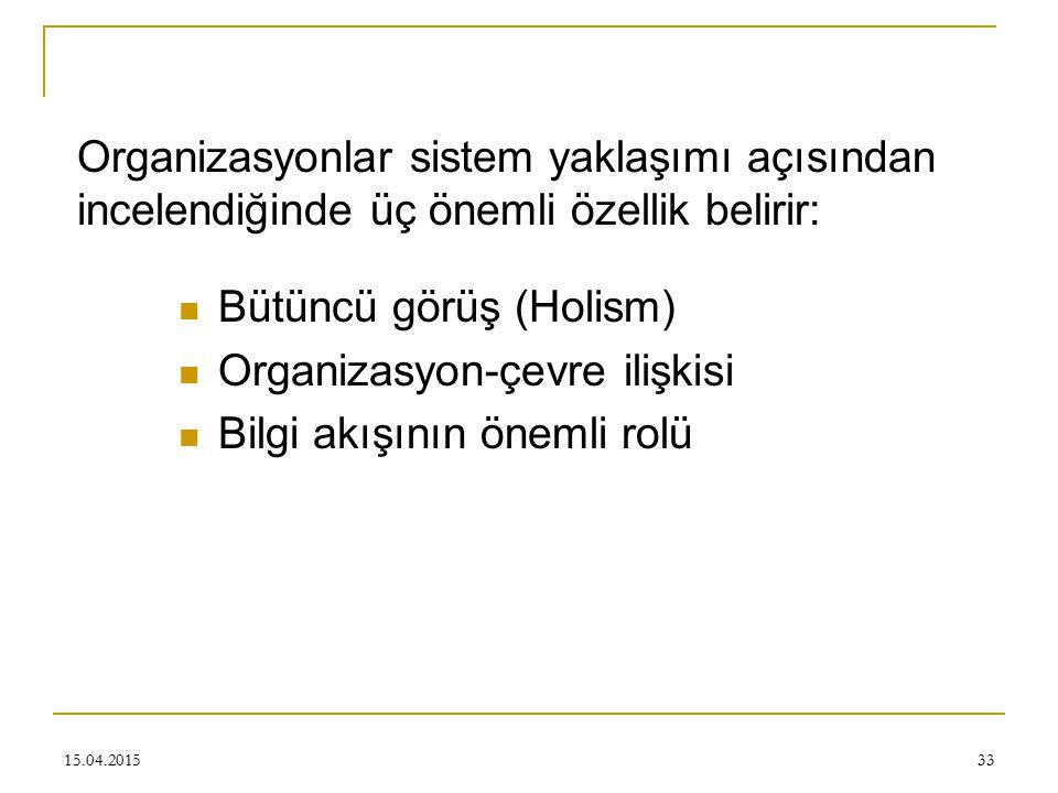 Bütüncü görüş (Holism) Organizasyon-çevre ilişkisi