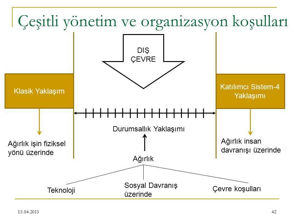 Çeşitli yönetim ve organizasyon koşulları