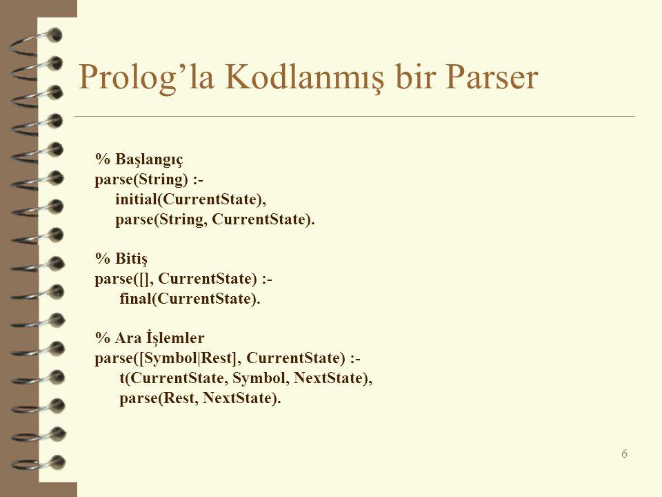 Prolog'la Kodlanmış bir Parser