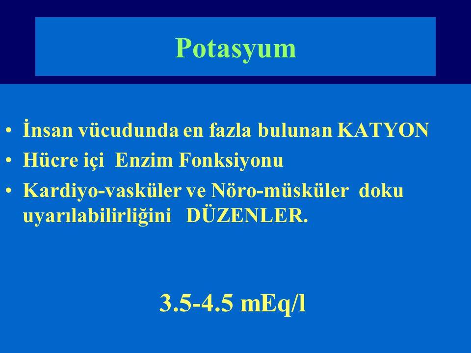 Potasyum 3.5-4.5 mEq/l İnsan vücudunda en fazla bulunan KATYON