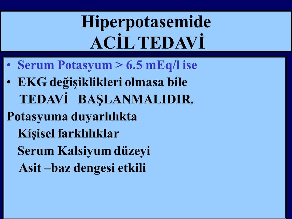 Hiperpotasemide ACİL TEDAVİ