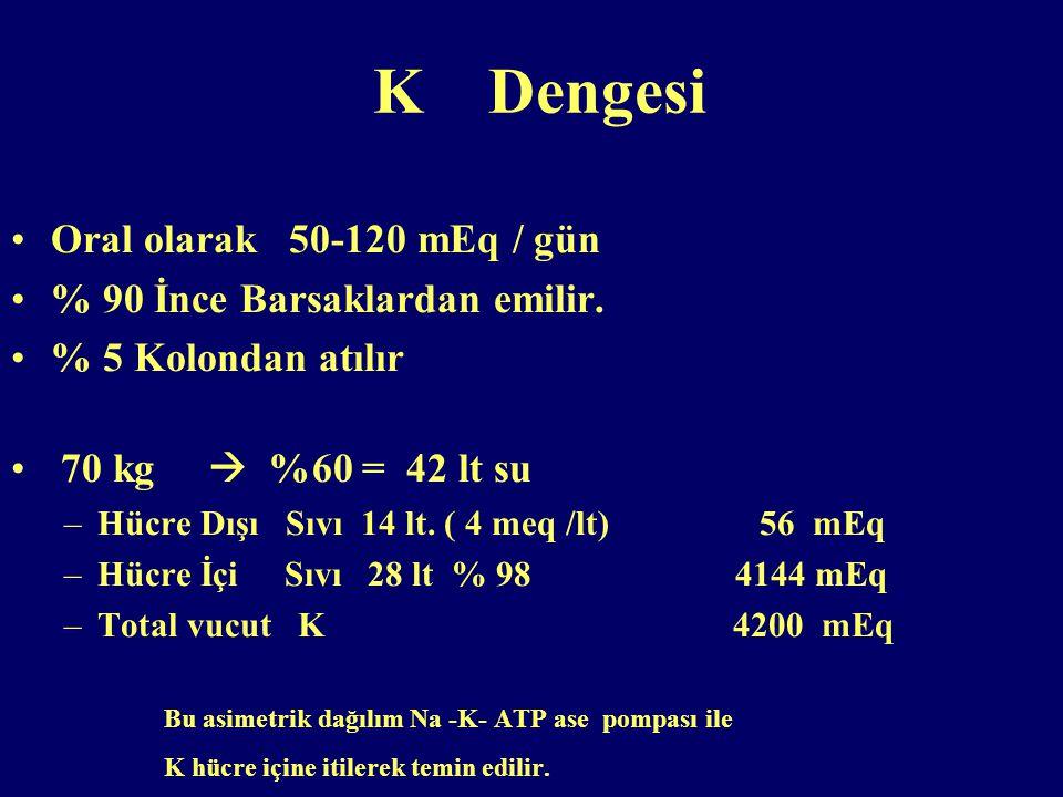 K Dengesi Oral olarak 50-120 mEq / gün % 90 İnce Barsaklardan emilir.