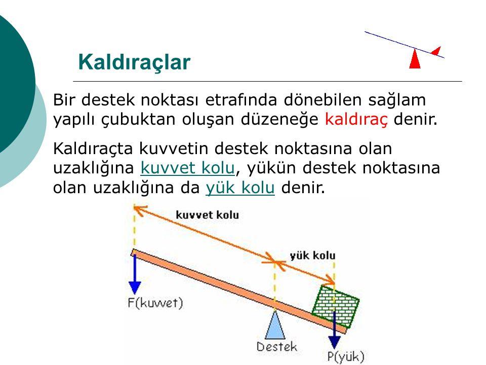 Kaldıraçlar Bir destek noktası etrafında dönebilen sağlam yapılı çubuktan oluşan düzeneğe kaldıraç denir.