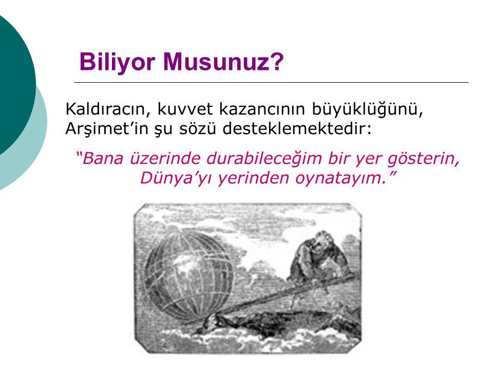 Biliyor Musunuz Kaldıracın, kuvvet kazancının büyüklüğünü, Arşimet'in şu sözü desteklemektedir: