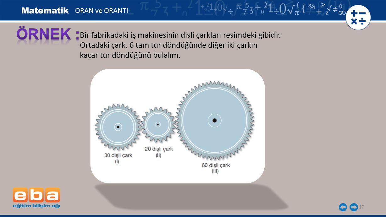 ORAN ve ORANTI ÖRNEK : Bir fabrikadaki iş makinesinin dişli çarkları resimdeki gibidir. Ortadaki çark, 6 tam tur döndüğünde diğer iki çarkın.