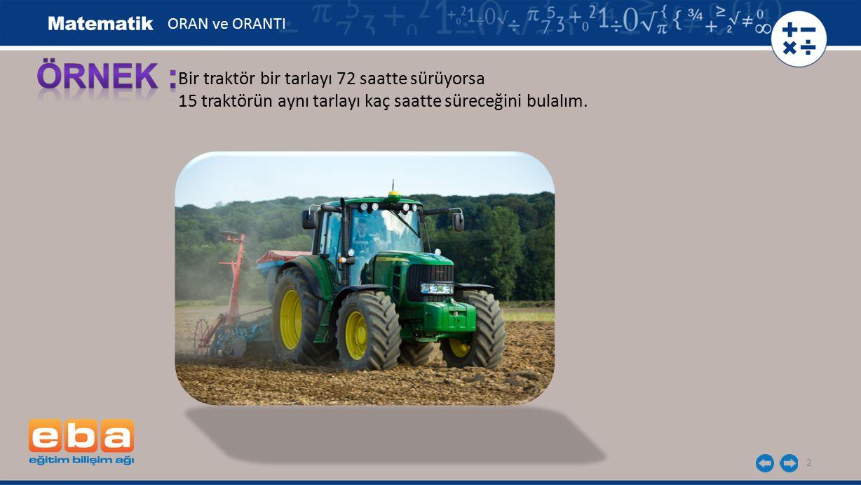 ÖRNEK : Bir traktör bir tarlayı 72 saatte sürüyorsa