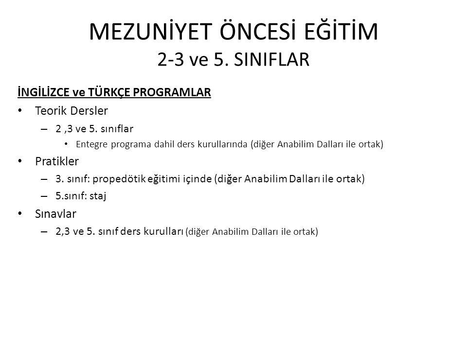 MEZUNİYET ÖNCESİ EĞİTİM 2-3 ve 5. SINIFLAR