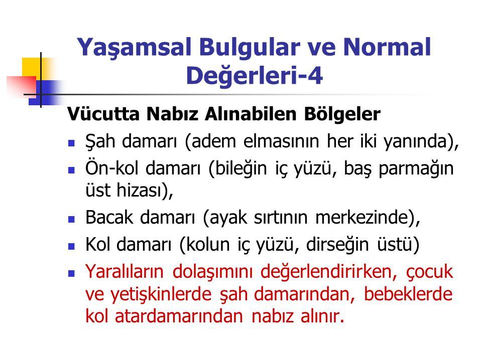 Yaşamsal Bulgular ve Normal Değerleri-4