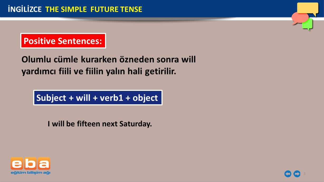 Subject + will + verb1 + object