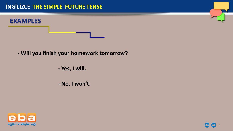 EXAMPLES İNGİLİZCE THE SIMPLE FUTURE TENSE