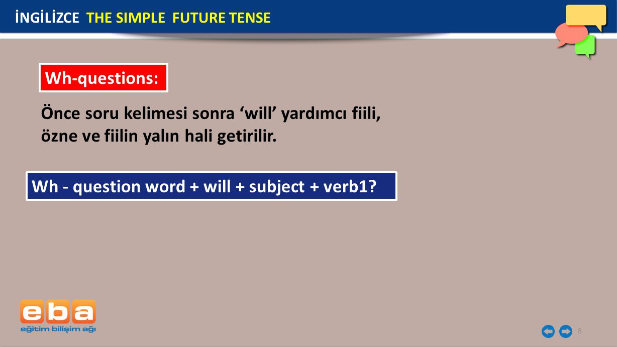 Wh - question word + will + subject + verb1