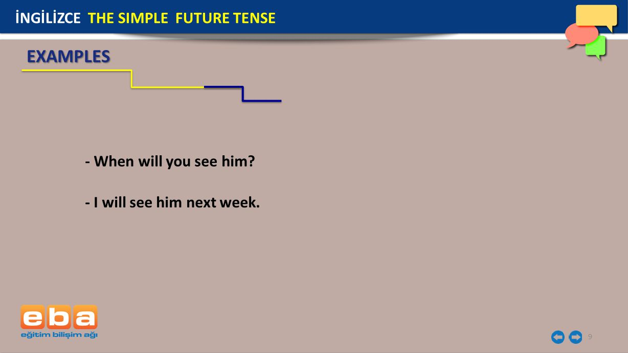 EXAMPLES İNGİLİZCE THE SIMPLE FUTURE TENSE - When will you see him