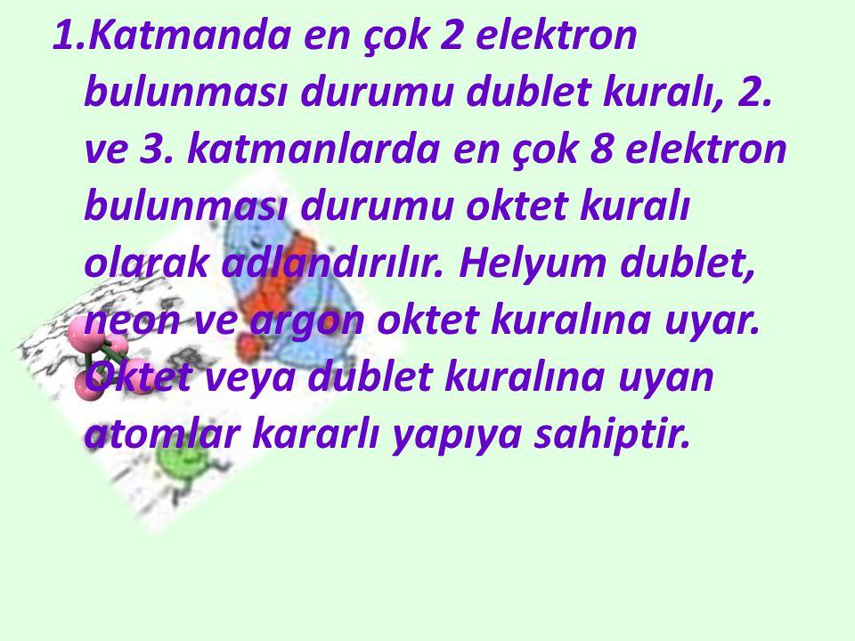 1. Katmanda en çok 2 elektron bulunması durumu dublet kuralı, 2. ve 3