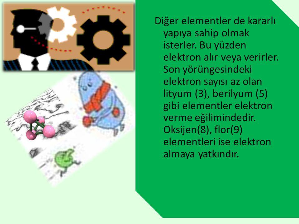 Diğer elementler de kararlı yapıya sahip olmak isterler