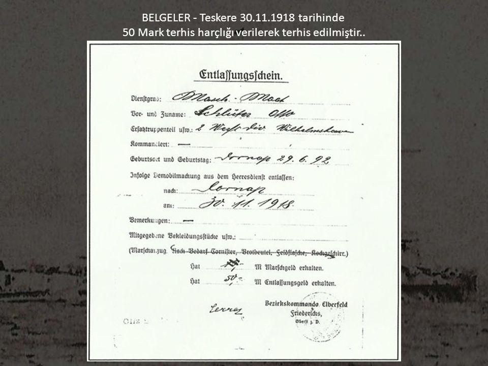 BELGELER - Teskere 30.11.1918 tarihinde