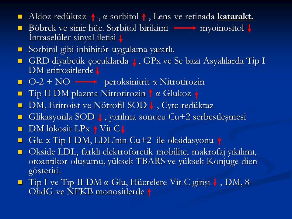 Aldoz redüktaz , α sorbitol , Lens ve retinada katarakt.